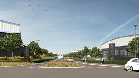 A CGI image of what the Suffolk Gateway 14 business park entrance could look like.