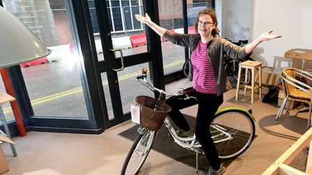 Bicycle Links prepare to open the new cafe. Project manager Lucy Hall. Picture: ANTONY KELLY