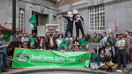Over 100 people set up a farmers' market stall outside of DEFRA offices today to protest against