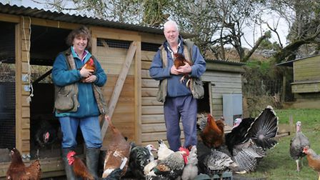 Jack Smellie and David Chidgey with some of their poultry