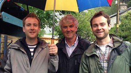 Country Smallholding 'Rookies' Andy Richards, left and Adam Willcox, right, with Paul Heiney, presen