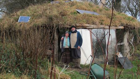 Tony Wrench and his partner Faith at their roundhouse in Wales