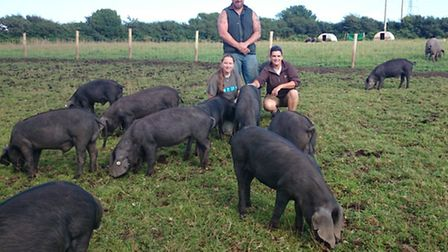 Ben, Mandy and Nerissa with their pigs