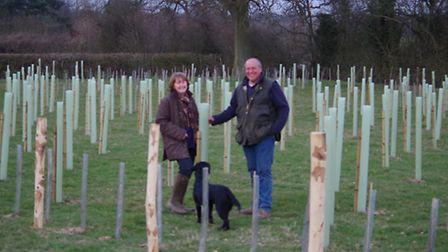 Kim and Simon Everett with their new trees