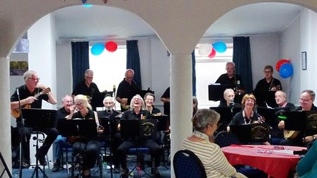 Fakenham Ukes performing at the VE Day party in Sculthorpe.
