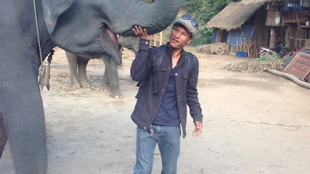 Supon and his elephant Pak Boong in 2013