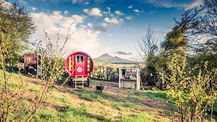 A gypsy caravan at The Little Oasis