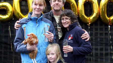 The Elliott family from Rugby with Jane Howorth, founder of the British Hen Welfare Trust, and Dee t
