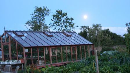 A perigree moon over Charles Dowding's garden in August