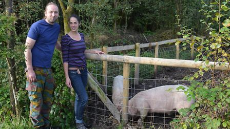 Pete and Anna Grugeon with their pigs