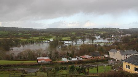 Flooding viewed form Liz Shankland's new smallholding in Carmarthenshire