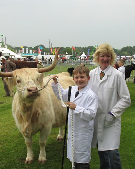 Annie's son William with Grace of Thistle at the Young Handlers' Class at the Three Counties Show