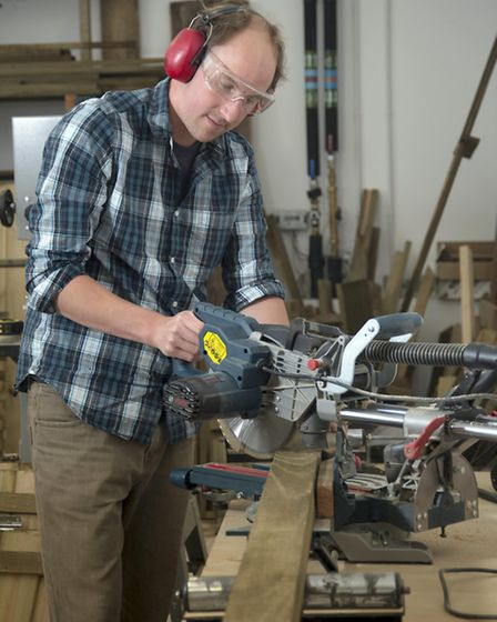 Tom at work in his workshop in Ruthvoes, Cornwall