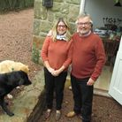Guthrie and Gaynor McGruer at their home with their Labradors Darcy and Milo