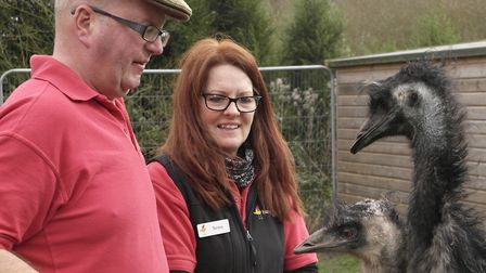Teresa and a visitor with ... the emu