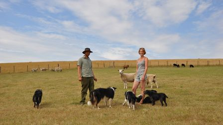 Woody and Harriet with their dogs and Daisy the sheep (centre) (photo: Julie Harding)