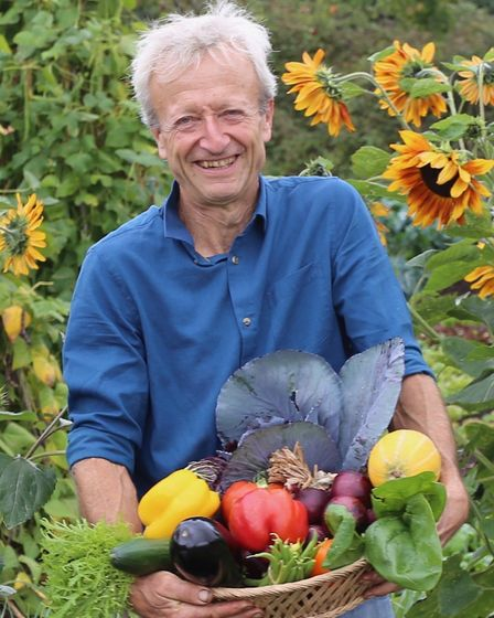 Charles with September harvests (photo: Charles Dowding)