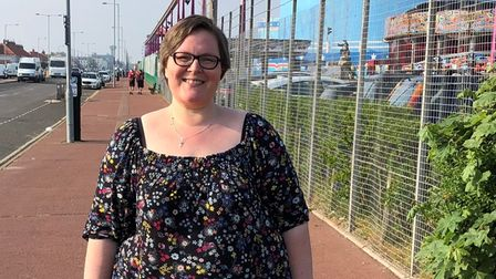Rebecca Saunders-Brown completed a 5km Memory Walkon Great Yarmouth seafront in memory of her late grandmother