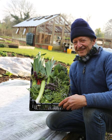 Charles with a winter harvest Credit: Charles Dowding