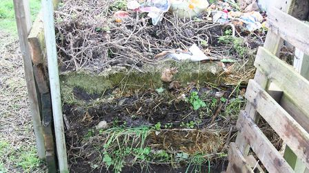 A compost heap in Febraury after clearing perrennial weeds, some are growing out the sides Credit: