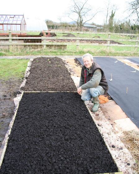 New bed filled with different composts; this can be sown or planted as soon as it's warm enough Cre