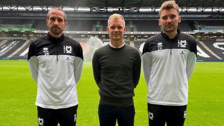 The trio of former Ipswich Town players now coaching at MK Dons (L-R): David Wright, Liam Manning and Chris Hogg
