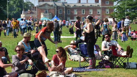 Visitors enjoy the music, sunshine and food at the 2016 Red Rooster Festival at Euston near Thetford