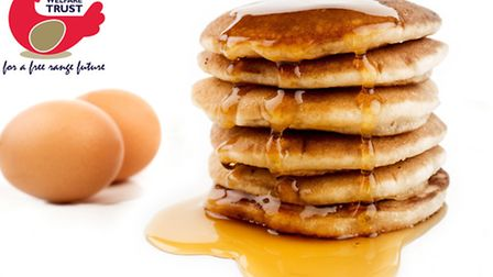 Pancakes made with free range eggs dripping with maple syrup. www.guyharrop.com info@guyharrop.com