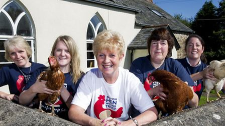 The BHWT team at Hope Chapel; (l-r) Wendy, Naomi, Jo, Gaynor & Poppy with Solo, Patsy and Cappucino!