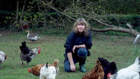 Janine Marsh with her chickens