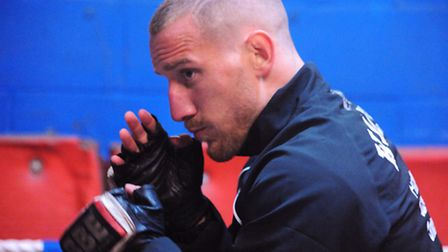 Ryan Walsh trains ahead of his British featherweight boxing title defence fight in London. Picture: