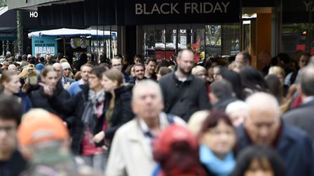 File photo dated 27/11/15 of shoppers on Oxford Street, London, as extended Black Friday and Cyber M