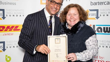 Theo Paphitis and Claire - winner of Small Business Sunday March '13
