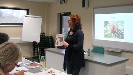 Jo recommends a book to her audience. She keeps ex-bats in her garden in Cornwall