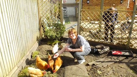 Jenni Gurner with some of their birds