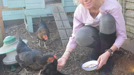 Mandy Shepherd with her chickens
