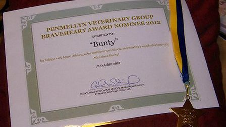 Bunty's certificate and medal