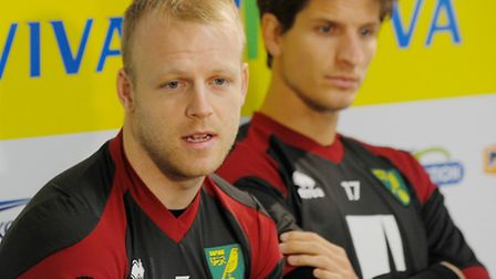 Norwich City Football Club's new signings Steven Naismith, left, and Timm Klose formally unveiled to