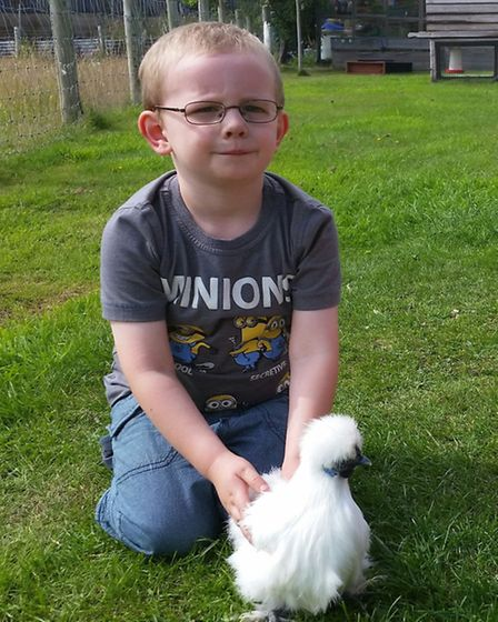Harry with a white Silkie bantam