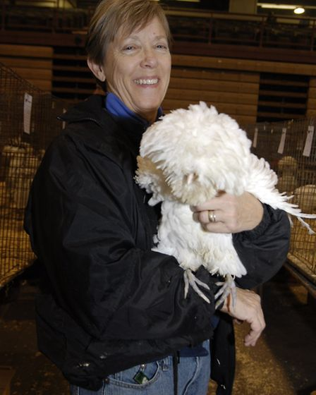 American breeder Sylvia Babus at the Ohio Show with one of her Polands