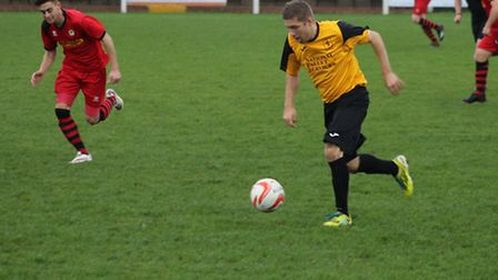 Robbie Harris in action for Fakenham Town earlier this season. Picture: TONY MILES