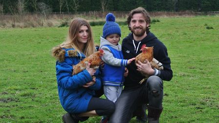 Joe Allen, his wife Lacey and his son Alfie