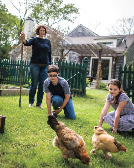 Melissa Caughey, author of How to Speak Chicken, and kids with their chickens (photo: Jared Leeds)