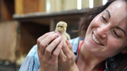 Ione at the farm with a baby chicken (photo: Remi Bumstead)
