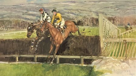 'Arkle and Mill House at Cheltenham 1964' watercolour byLionel Edwards