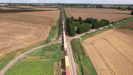 Photo of the crash scene after a freight train collided with a tractor between March and Whittlesey.