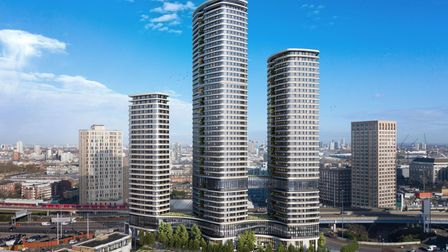 The three student towers for Canary Wharf reaching 46 floors with a 'sky bridge' linking two of them