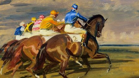 Oil on canvas – Study for 'The Start', October Meeting, Newmarket by Sir Alfred Munnings,c.1956-1957