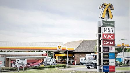 At least five pallets of high-value electrical bathroom items were stolen from lorries at a service station.