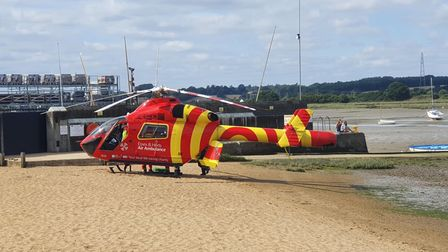 The Essex and Herts Air Ambulance landed on the beach in Manningtree